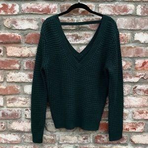 F21 hunter green knit sweater